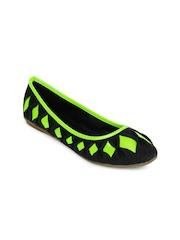 Jove Women Black & Fluorescent Green Flat Shoes