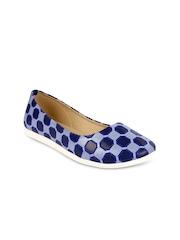 Jove Women Blue & Black Flat Shoes