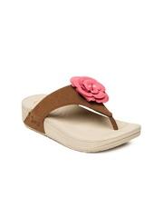 Jove Women Brown & Pink Sandals