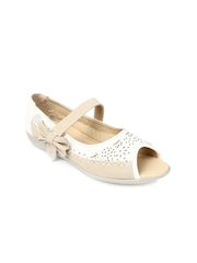 Jove Women White & Beige Sandals