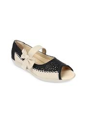 Jove Women Black & Beige Sandals