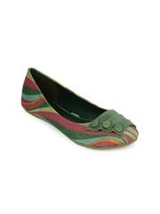 Jove Women Green Printed Flat Shoes