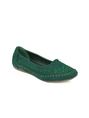 Jove Women Dark Green Flat Shoes