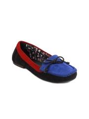 Jove Women Black & Blue Suede Loafers