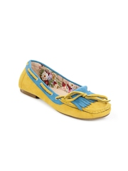 Jove Women Mustard Suede Loafers