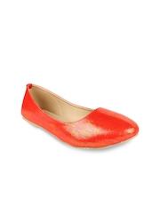 Jove Women Orange Flat Shoes