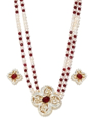 Jpearls White & Red Pearl Jewellery Set