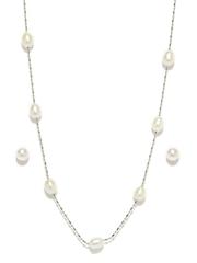 Jpearls White Pearl Jewellery Set