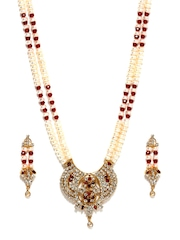 Jpearls Gold-Plated & White Pearl Jewellery Set
