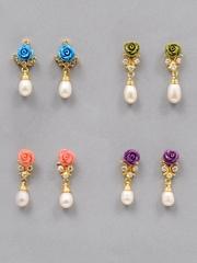 Jpearls Women Set of 4 Pearl Earrings