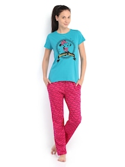 July Nightwear Blue & Pink Printed Lounge Set MM030