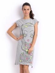 July Nightwear Grey Melange Printed Nightdress A80