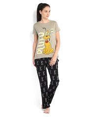 July Nightwear Women Beige & Black Printed Lounge Set MM031