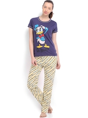 July Nightwear Women Blue & Yellow Printed Lounge Set MM019