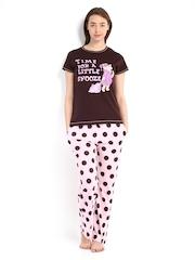 July Nightwear Women Brown & Pink Printed Lounge Set A94
