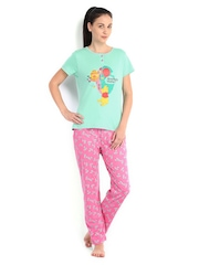 July Nightwear Women Green & Pink Printed Lounge Set A117