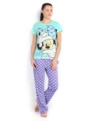 July Nightwear Women Green & Purple Printed Lounge Set MM034