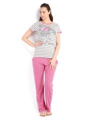 July Nightwear Women Grey & Pink Printed Lounge Set MM006