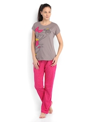 July Nightwear Women Taupe & Pink Printed Lounge Set MM017