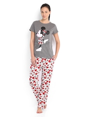 July Nightwear Women Grey & White Printed Lounge Set MM008