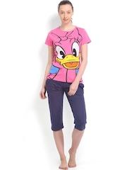July Nightwear Women Pink & Navy Printed Lounge Set MM032