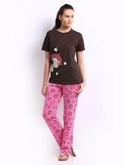 July Nightwear Women Brown & Pink Printed Lounge Set A09