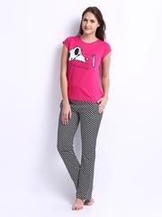 July Nightwear Women Pink & Black Lounge Set A54