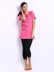 July Nightwear Women Pink & Black Lounge Set B08