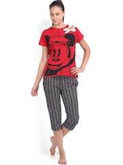 July Nightwear Red & Black Printed Lounge Set MM002