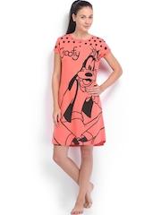July Nightwear Coral Pink Printed Nightdress MM022