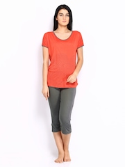 July Nightwear Women Orange & Grey Lounge Set A 61