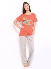 July Nightwear Women Orange & Grey Printed Lounge Set B10
