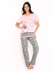 July Nightwear Women Pink & Grey Lounge Set B03
