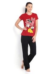 July Nightwear Women Red & Black Lounge Set MM010