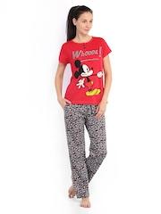 July Nightwear Women Red & Grey Lounge Set MM004