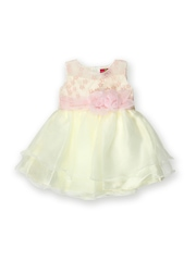 Juniors Girls Cream-Coloured Fit & Flare Dress