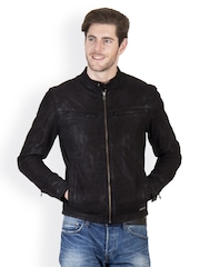 Justanned Men Black Leather Jacket