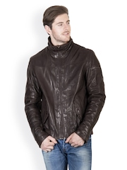 Justanned Men Brown Leather Jacket