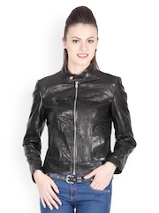 Justanned Women Black Leather Jacket