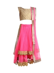 K&U Girls Fluorescent Pink & Beige Lehenga Choli with Dupatta