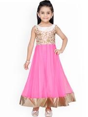 K&U Girls Cream-Coloured & Pink Embroidered Anarkali Kurta