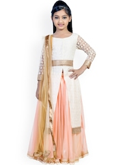 K&U Girls Off-White & Peach-Coloured Embroidered Georgette Lehenga Choli with Dupatta