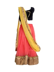 K&U Girls Navy & Peach Coloured Lehenga Choli with Dupatta