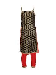 K&U Girls Black Kurta & Red Pants Set