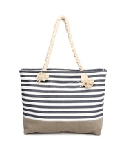 Kiara Grey & White Striped Shoulder Bag