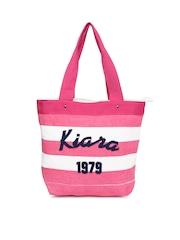 Kiara Women Pink & White Striped Tote Bag