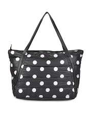 Kiara Black & White Polka Dot Quilted Handbag