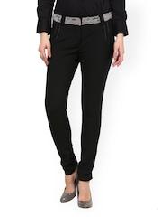 Women Black Relaxed Fit Formal Trousers Kaaryah 732666