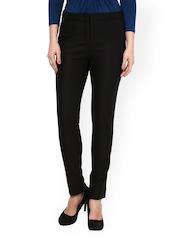 Women Black Slim Fit Formal Trousers Kaaryah 732669