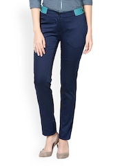 Kaaryah Women Navy Slim Fit Formal Trousers
